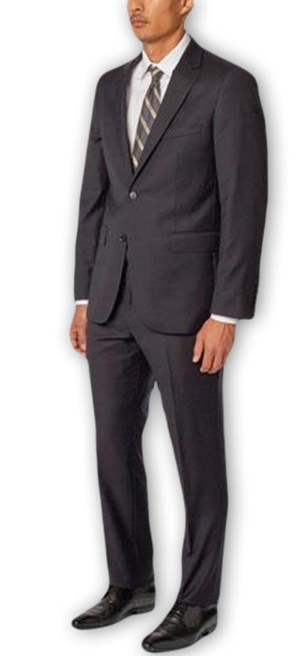 Men's  Notch Lapel 100% Wool Double Vent Two Piece Navy Suit