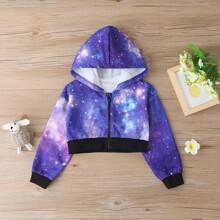 Crop Jacke mit Galaxis Muster und Kapuze