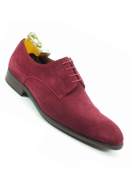 Men's Laceup Style Suede Fashionable Burgundy Shoes