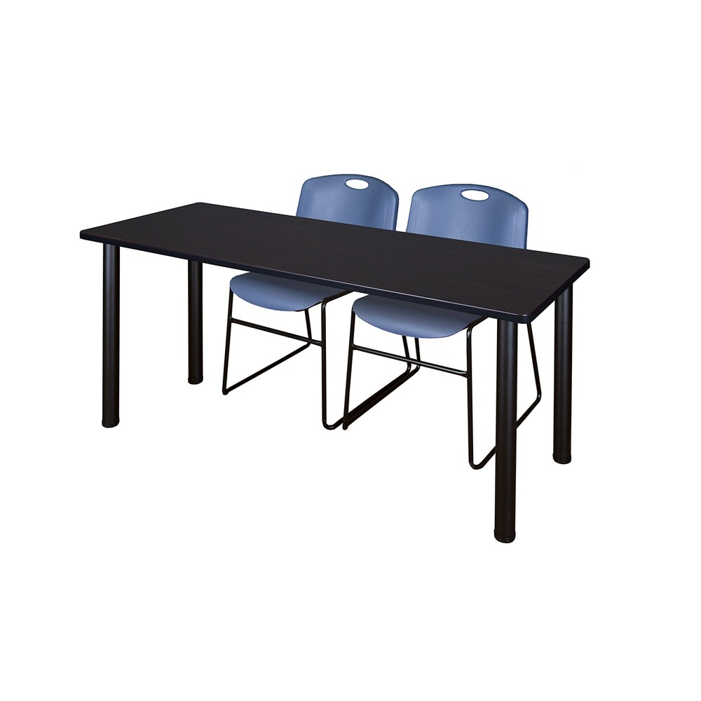 Kee Black 72-inch x 24-inch Training Table with 2 Blue Zeng Stack Chairs (Grey)