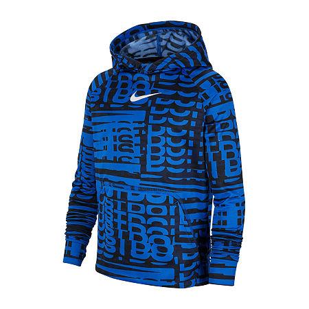 Nike Big Boys Fitted Sleeve Hoodie, Large , Blue