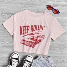 Crop T-Shirt mit Buchstaben & Auto Muster