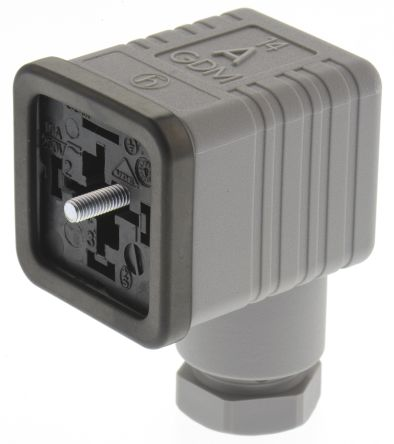 Hirschmann , GDM Series 3P+E DIN 43650 A, Female Solenoid Valve Connector, 250 V Voltage, Grey