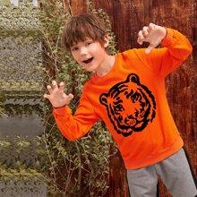 Neon Orange Pullover mit Tier Muster