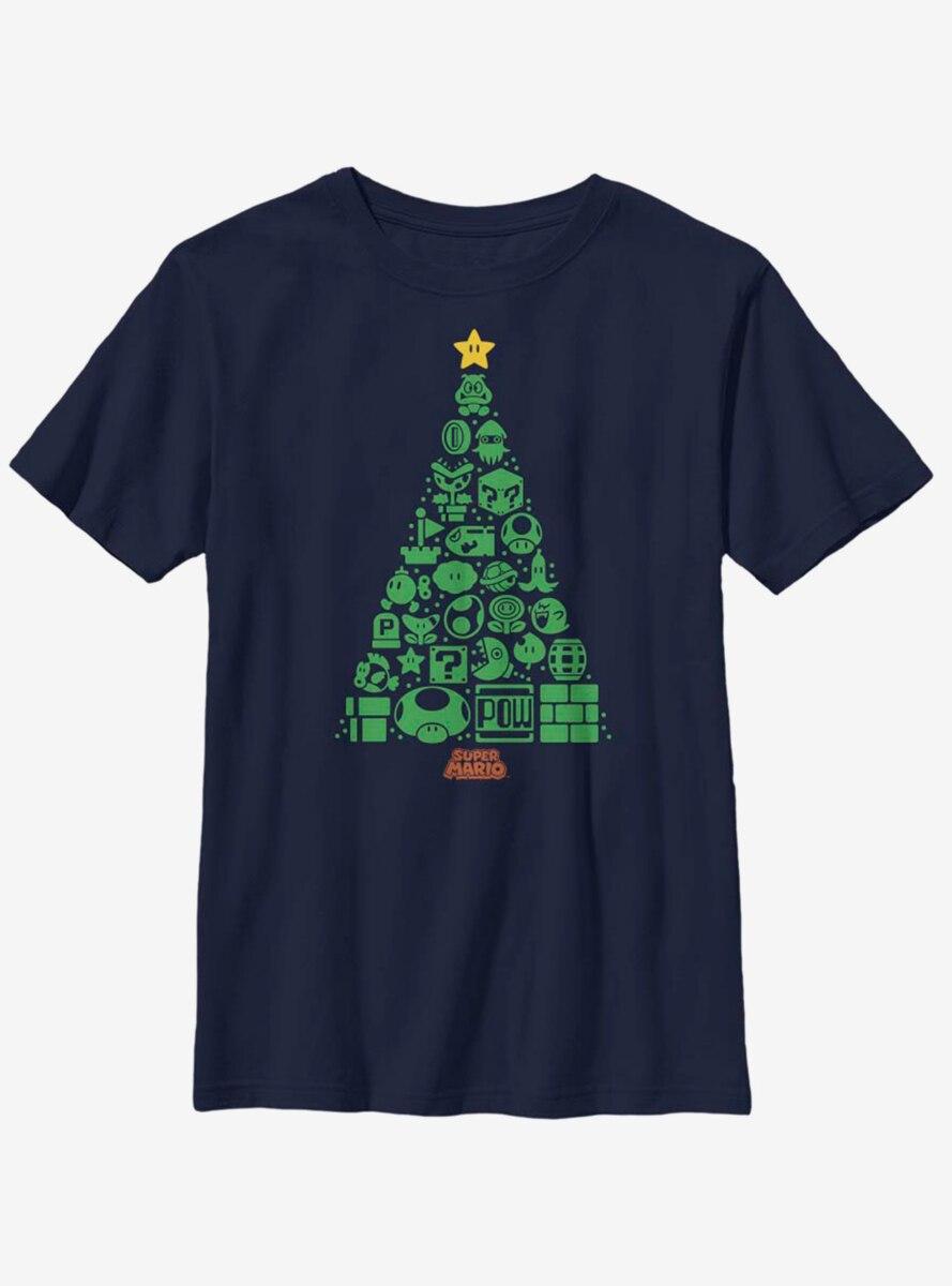 Nintendo Super Mario Christmas Tree Icons Youth T-Shirt