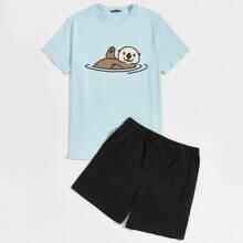 Men Cartoon Graphic Top & Shorts PJ Set