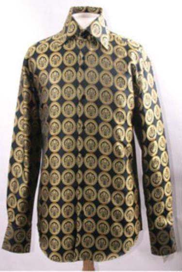 Mens High Collar Black Gold Pendant Design Shirts