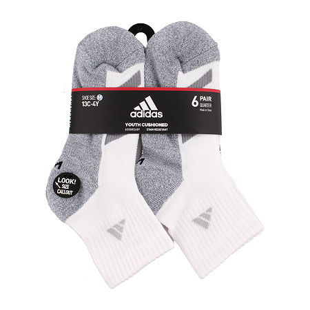 adidas Big Boys 6 Pair Quarter Socks, Large , White