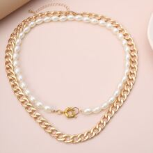 2pcs Faux Pearl Beaded Necklace