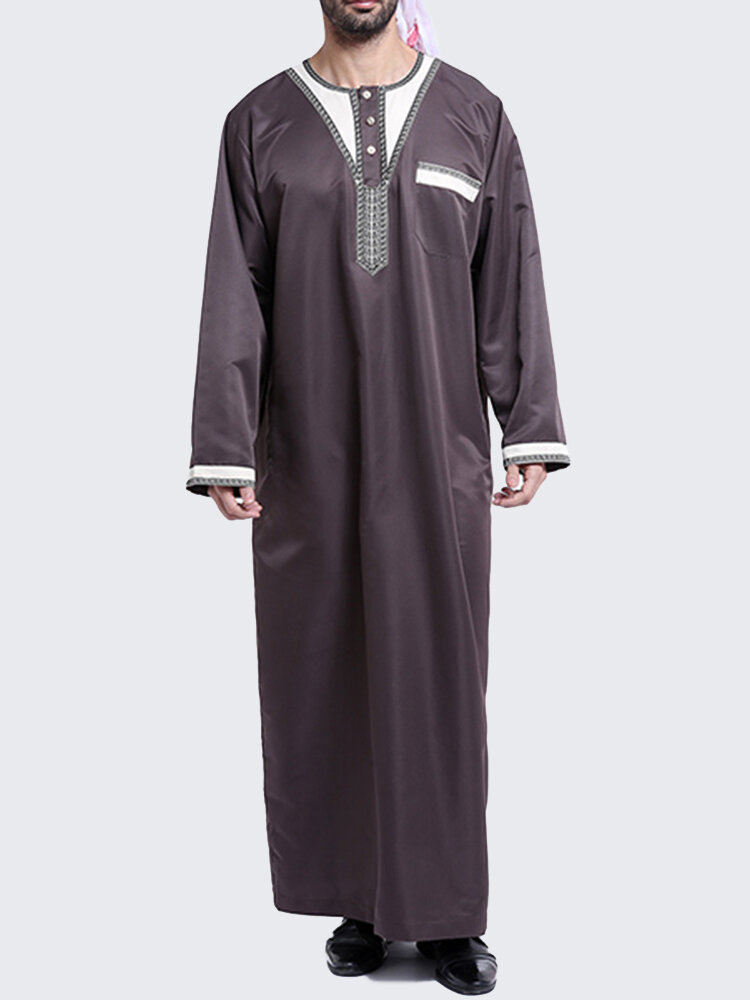 Muslim Arab Middle East Style Mens Islamic Fashion Solid Robes Suit