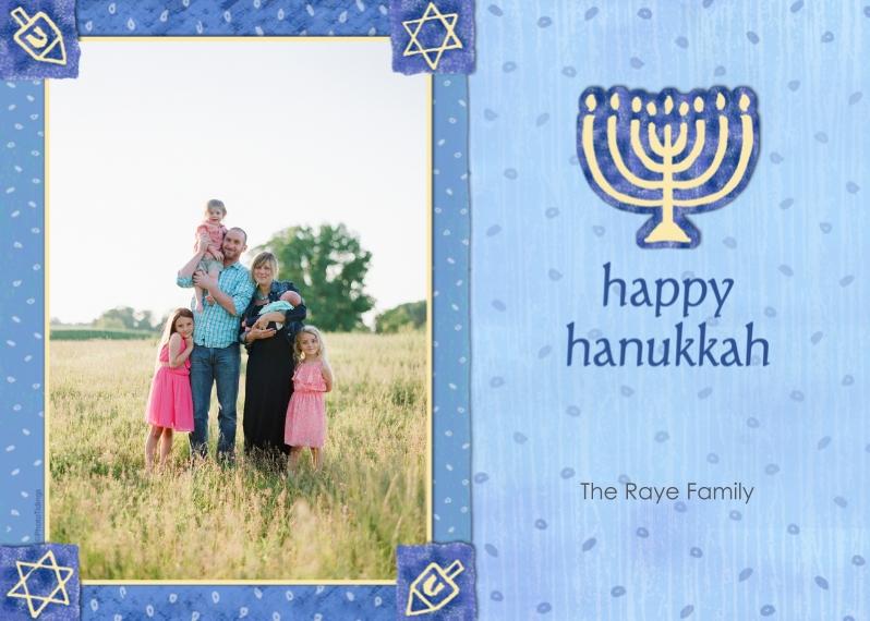 Hanukkah Photo Cards Mail-for-Me Premium 5x7 Folded Card , Card & Stationery -Blue & Gold Menorah