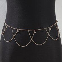 Cadena de cintura con diamante de imitacion