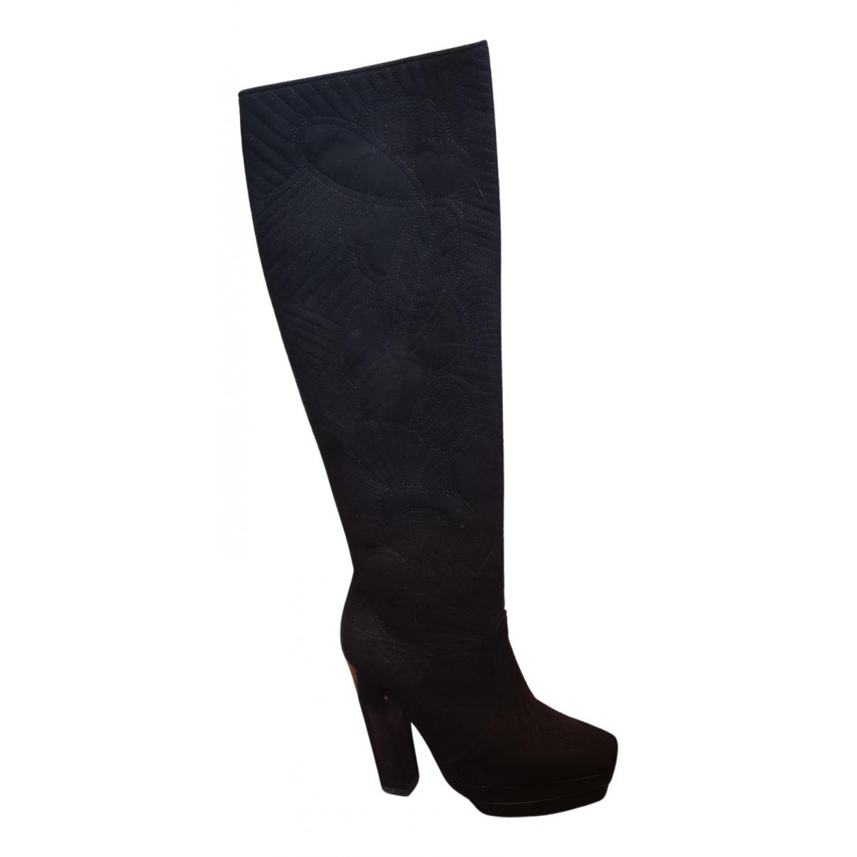 Pollini - Bottes   pour femme en velours - noir