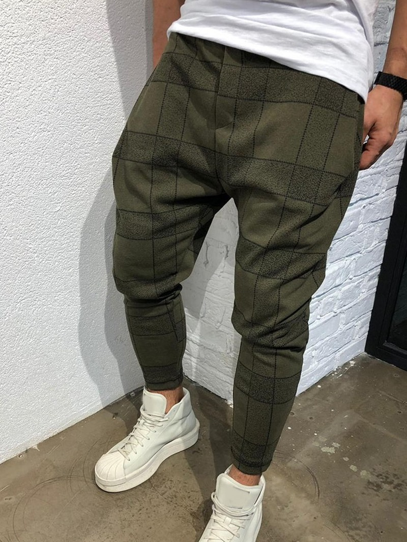 Ericdress Plaid Pencil Pants Men's Casual Pants