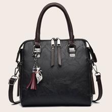 Tassel Decor Satchel Bag