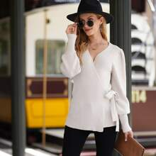 Ribbed Knit Tie Side Puff Sleeve Wrap Sweater