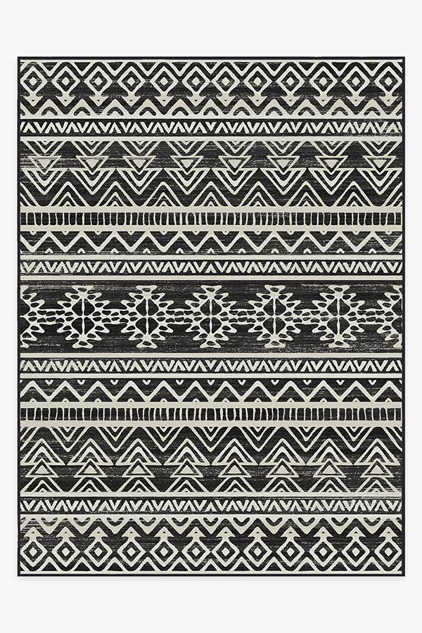 Washable Rug Cover | Linear Aztec Black Rug | Stain-Resistant | Ruggable | 9'x12'