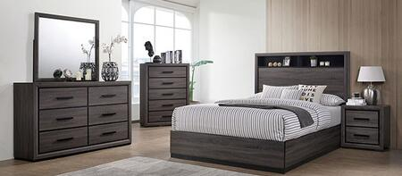 Conwy CM7549EK-BED-NSCHDRMR 5-Piece Bedroom Set with Eastern King Size Bed  Nightstand  Chest  Dresser and Mirror in