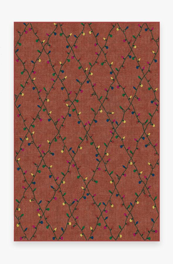 Washable Rug Cover & Pad   Holiday Lights Red Rug   Stain-Resistant   Ruggable   6'x9'