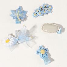 5pcs Girls Embroidery Flower Decor Hair Clip