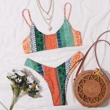 Tribal High Leg Bikini Swimsuit