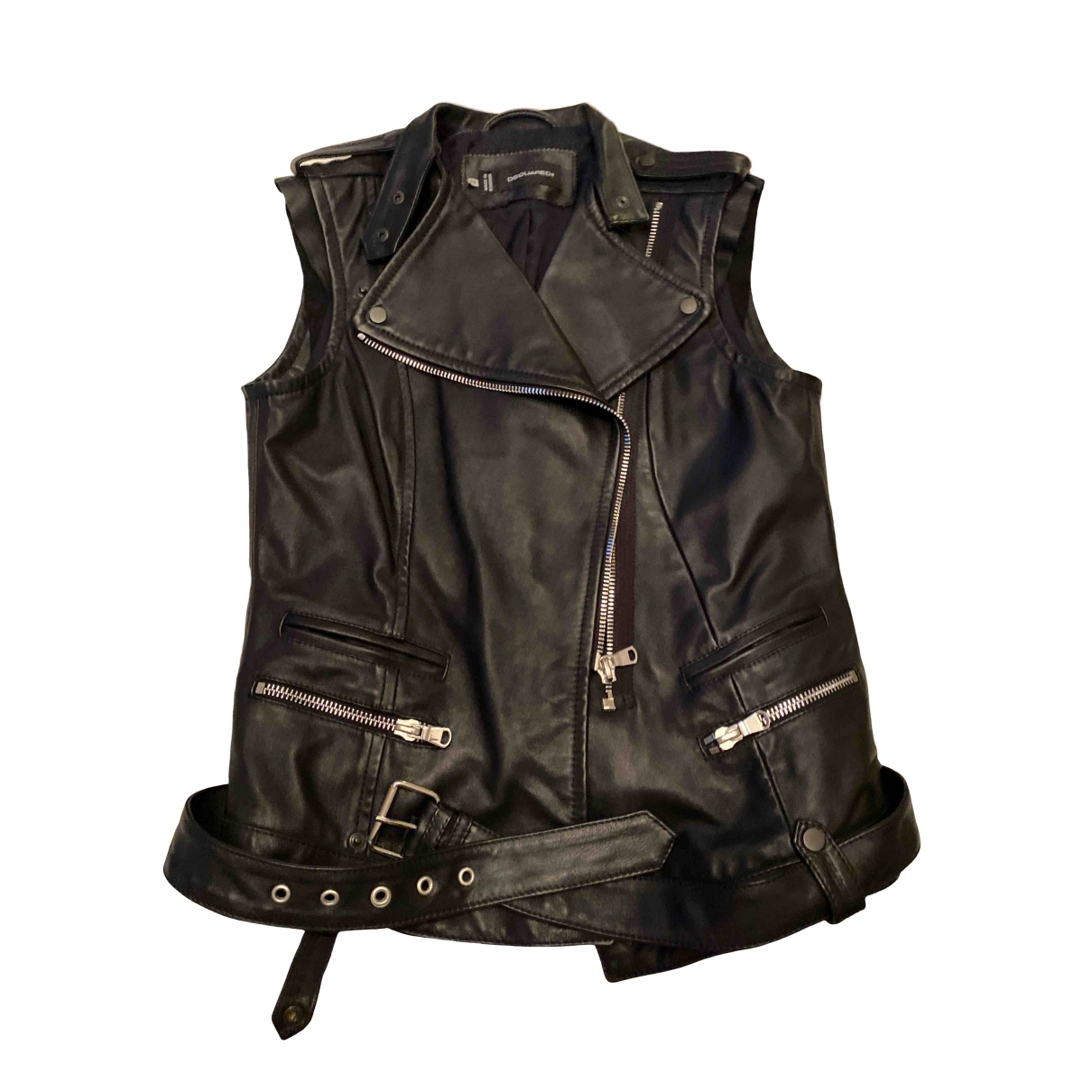 Dsquared2 \N Black Leather jacket for Women 44 IT