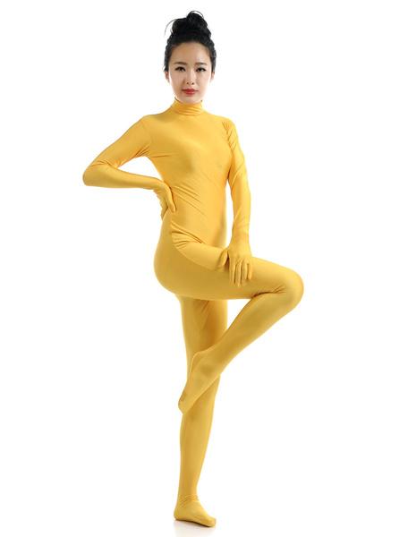 Milanoo Disfraz Halloween Amarillo Lycra Spandex Zentai traje para las mujeres Halloween