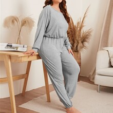 Plus Solid Sweatshirt & Sweatpants PJ Set