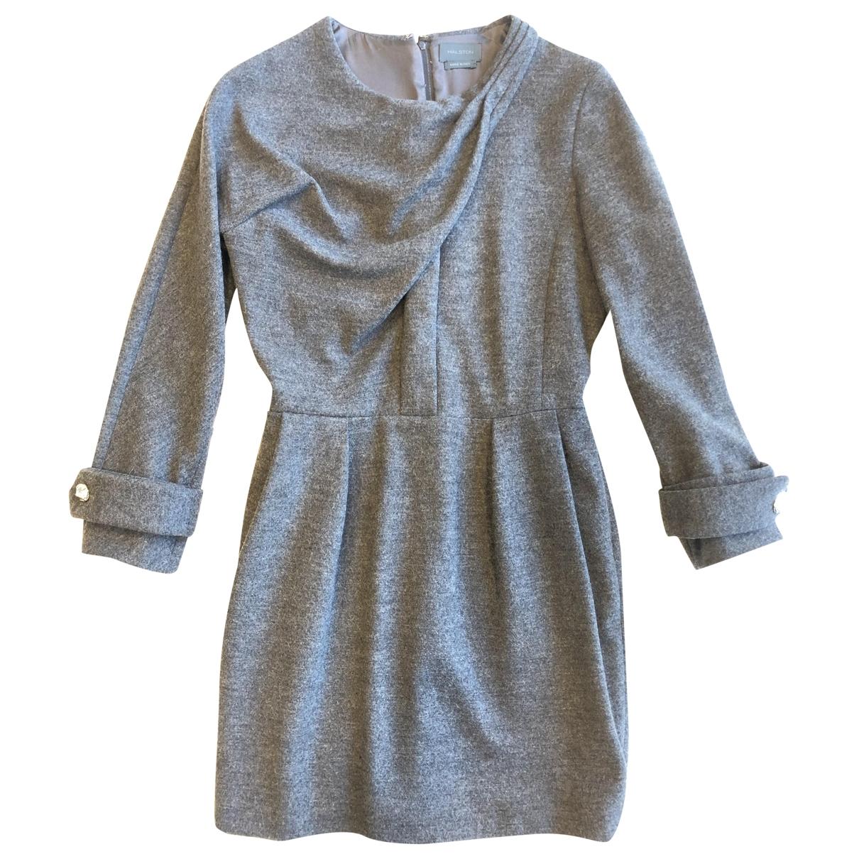Halston - Robe   pour femme en laine - gris