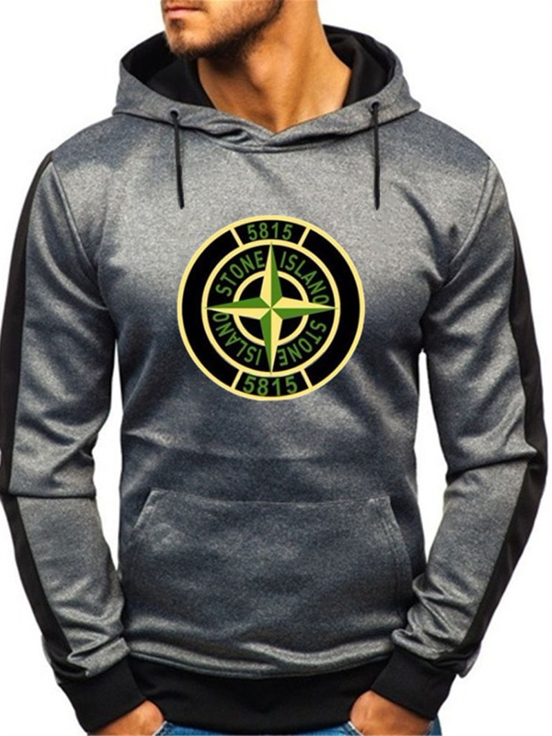 Ericdress Fleece Pullover Color Block Sports Hooded Hoodies