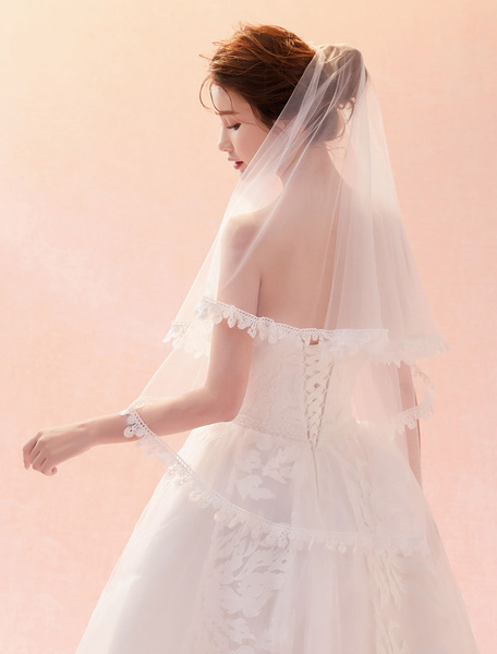 Milanoo Wedding Veil Ivory Lace Applique Edge One Tier Bridal Veil
