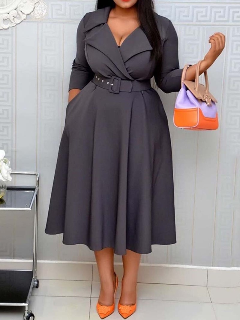 Ericdress Belt Notched Lapel Three-Quarter Sleeve Pullover Fall Dress