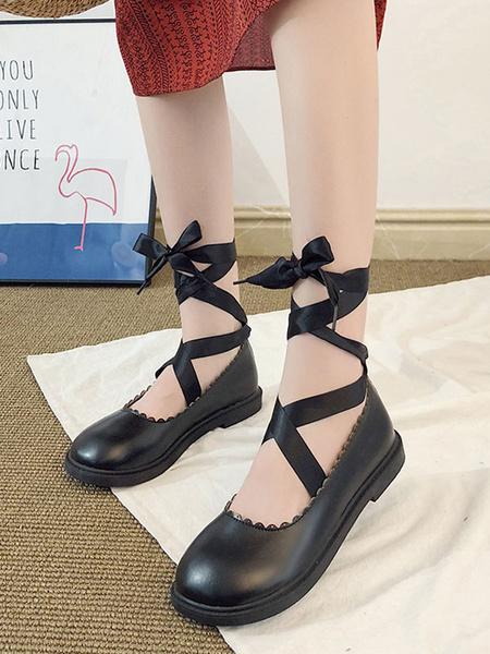 Milanoo Sweet Lolita Footwear Lace Up Tie Leg Round Toe PU Lolita Shoes
