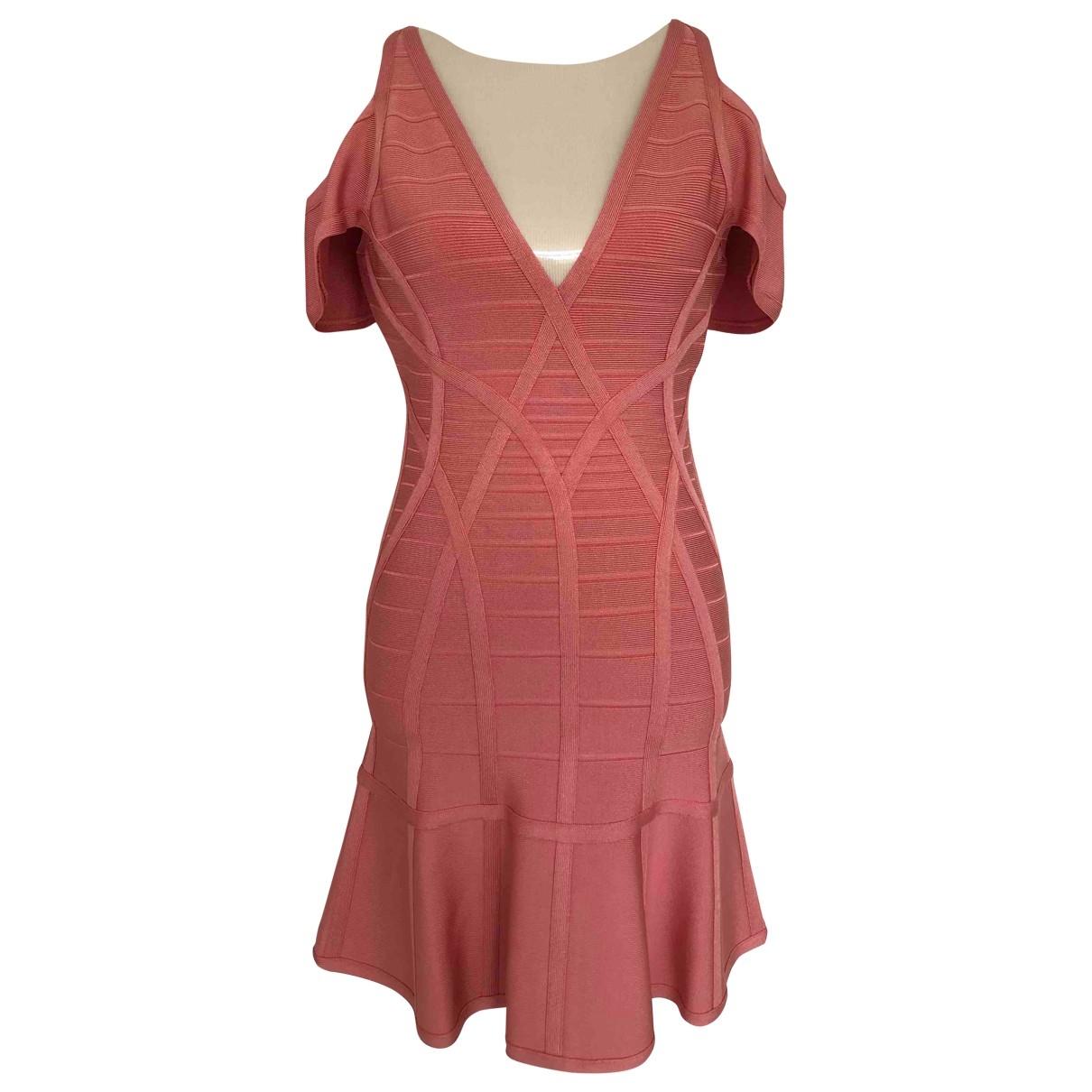 Herve Leger \N Kleid in  Rosa Baumwolle