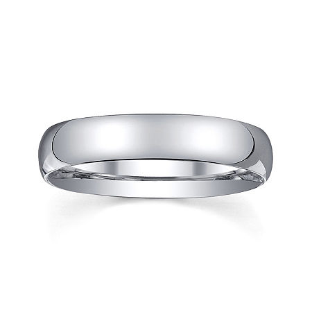 Personalized Mens 4mm Comfort Fit Domed Sterling Silver Wedding Band, 14 , No Color Family