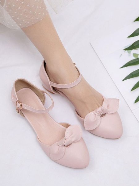 Milanoo Sweet Lolita Footwear Pink Bows Round Toe PU Leather Lolita Pumps