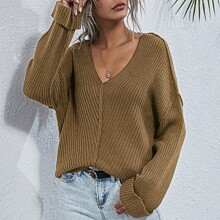 Drop Shoulder High Low Sweater