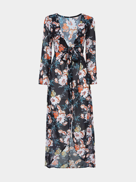 Yoins Floral Print Semi Sheer Maxi Dress With Hi-lo Hem