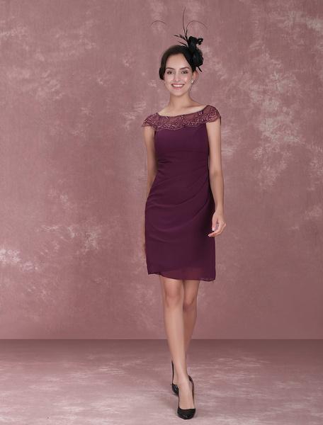 Milanoo Mother Of The Bride Dresses Plum Short Sheath Chiffon Illusion Draped Knee Length Wedding Guest Dresses