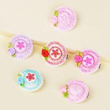 6pcs Toddler Girls Flower Decor Hair Clip