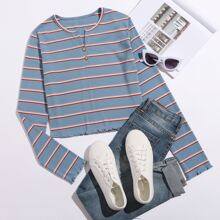 Notched Neck Striped Tee