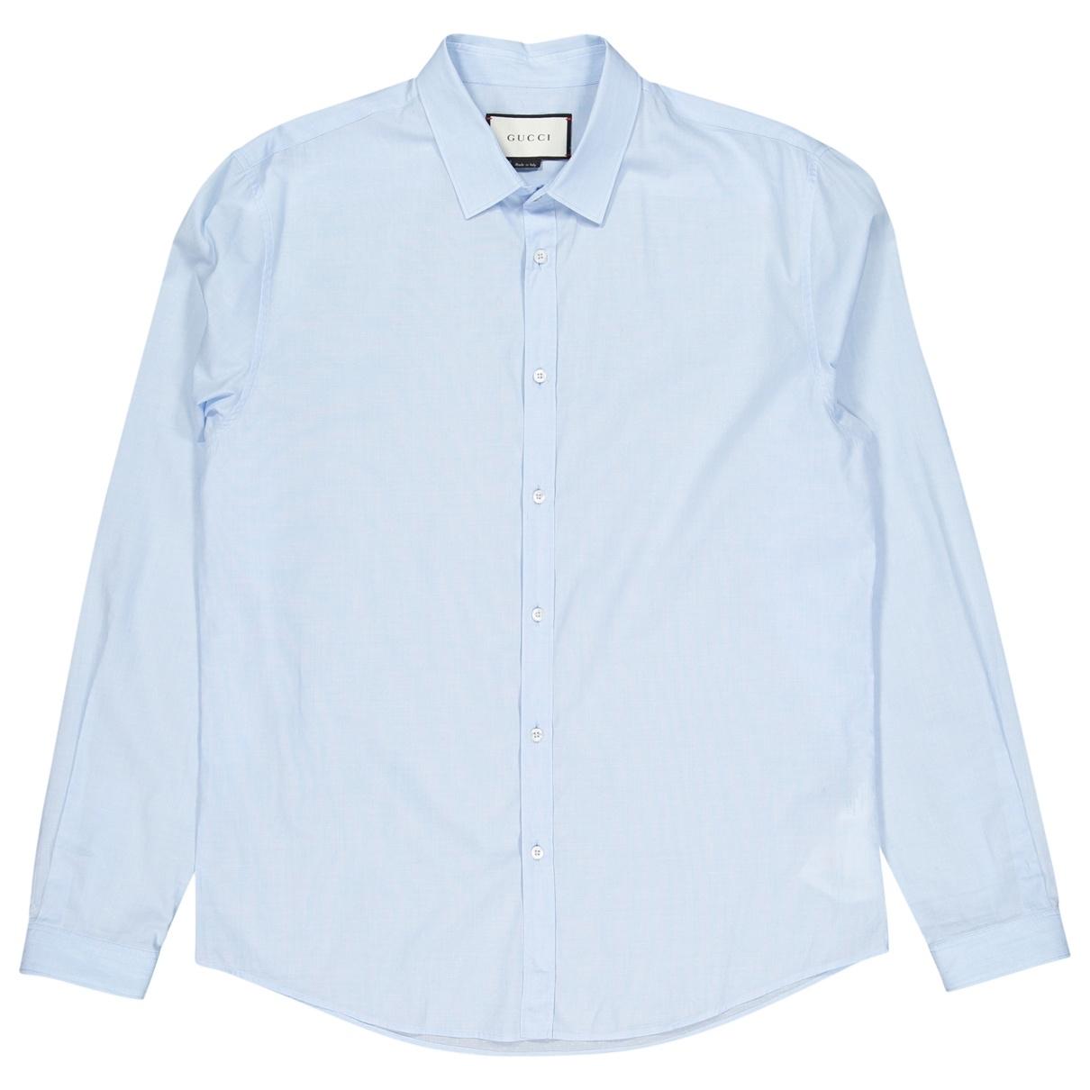 Gucci \N Blue Cotton Shirts for Men 42 EU (tour de cou / collar)