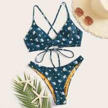 Bikini cortado alto top con cordon con estampado floral