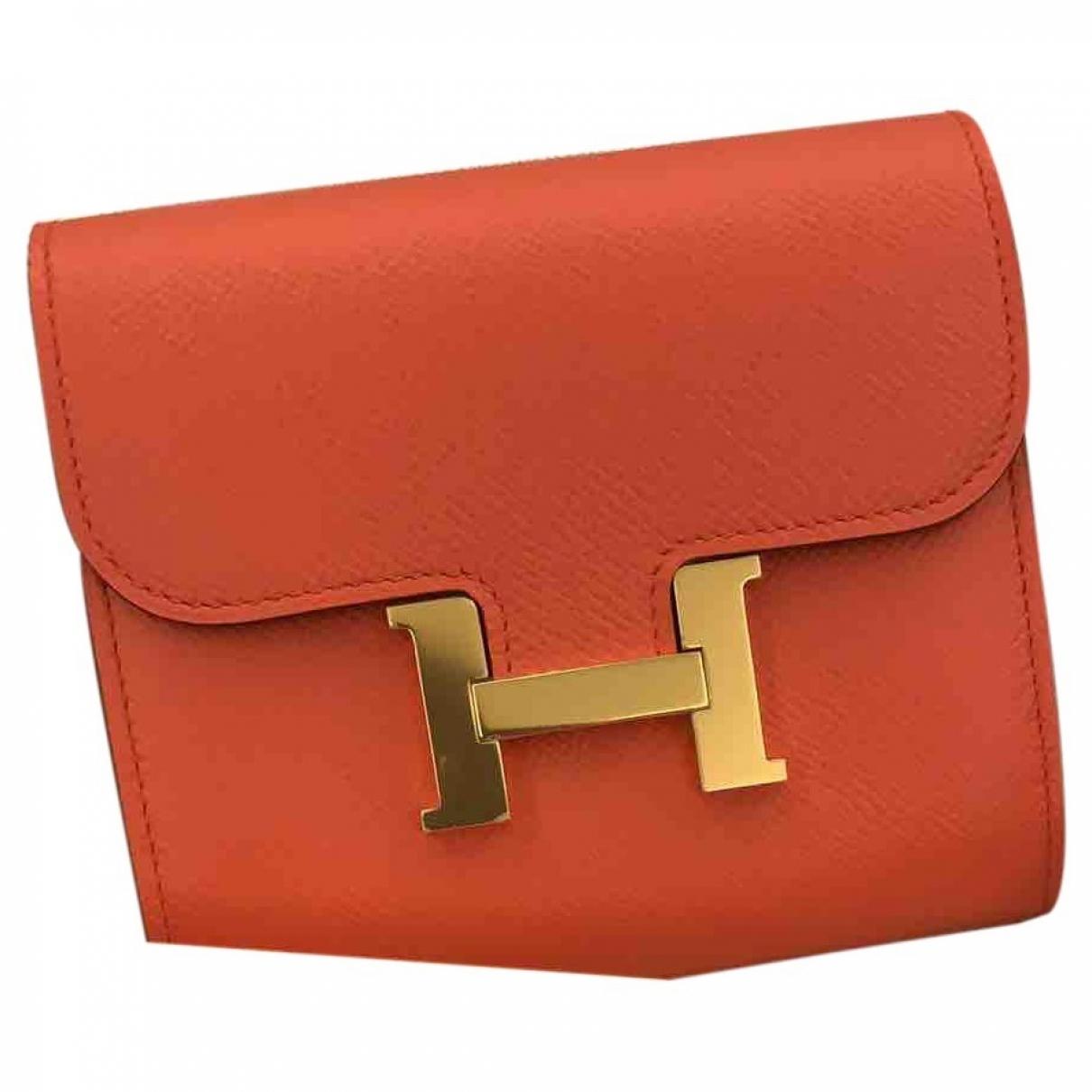 Hermes - Petite maroquinerie Constance pour femme en cuir - orange