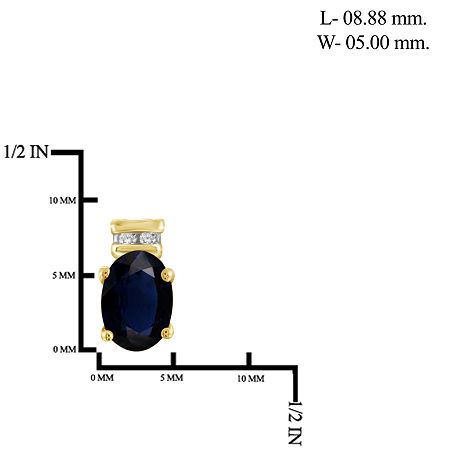Diamond Accent Genuine Blue Sapphire 14K Gold Over Silver 8.8mm Stud Earrings, One Size , No Color Family