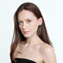Ohrringe mit Perlen Dekor und geometrischem Design