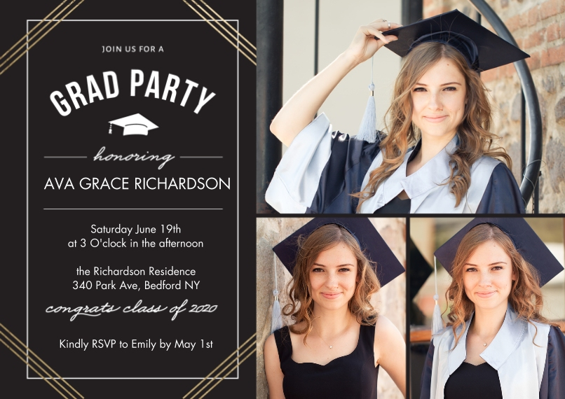 2020 Graduation Invitations 5x7 Cards, Standard Cardstock 85lb, Card & Stationery -2020 Grad Party Honoring by Tumbalina