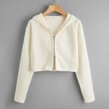 Solid Zip Up Hooded Cardigan