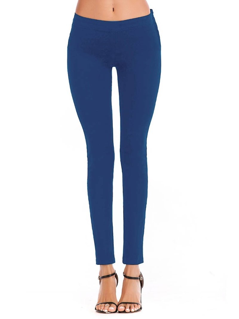 Ericdress Pencil Pants Plain Zipper Skinny Low-Waist Jeans