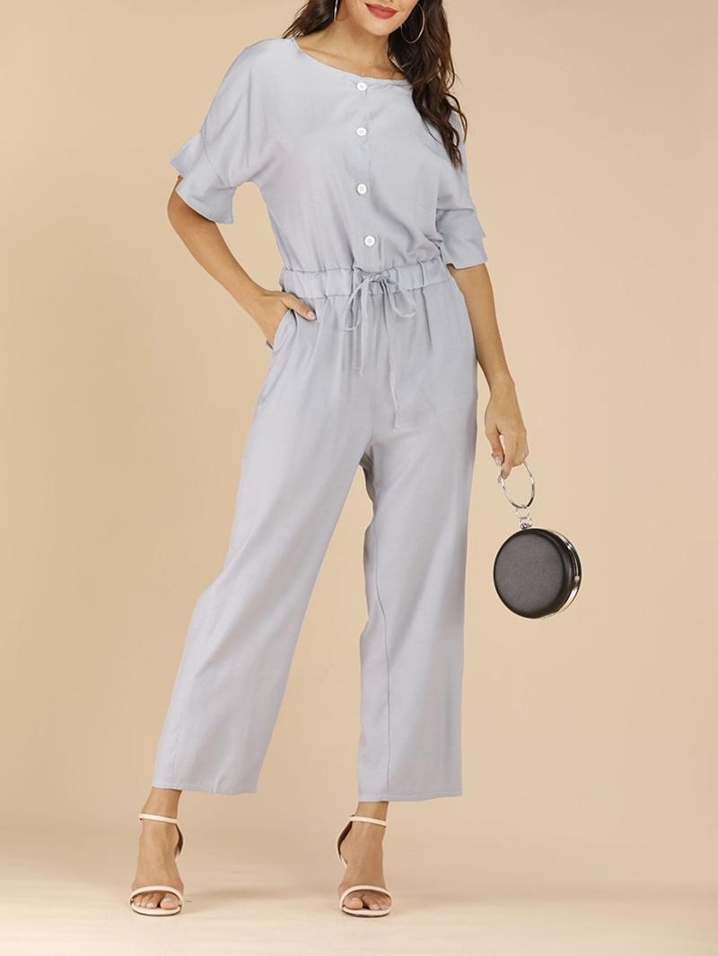 Ericdress Casual Plain Lace-up Ankle Length Slim Jumpsuit